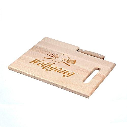 polar-effekt Frühstücksbrettchen mit Messer - Schneidebrett 30,5 x 23 cm mit Gravur - Personalisiert - Geschenk zum Geburtstag - Motiv Kochmütze - Holz-messer Personalisierte