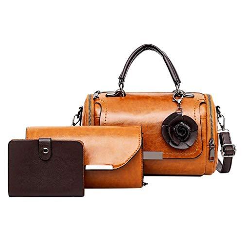 VADFLOD Damen Leder Handtaschen + Schultertasche + Kartenhalter 3er Set Arzttasche Duffle Bag, Braun -