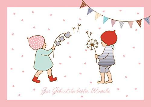 Zur Geburt die besten Wünsche Glückwunschkarte zur Geburt für Zwillinge Mädchen und Junge (Babykarte/Zwillings Baby Karte) mit 2 Wichtelmännchen und Girlande in Rosa (Mit Umschlag) (1)
