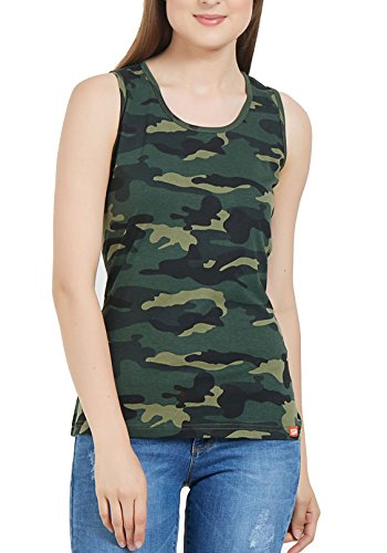 WYO Wear Your Opinion Womens Tanks Top with Army Camouflage Design