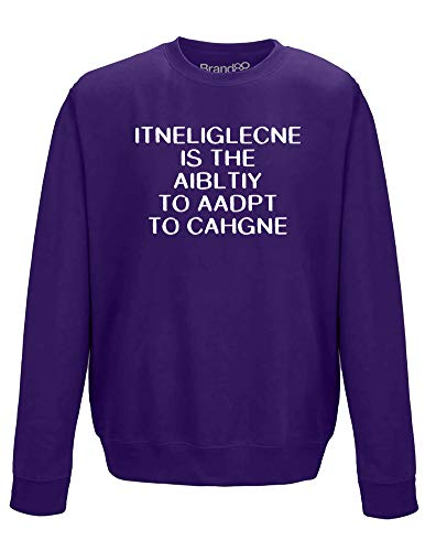 Brand88 Intelligence is, Erwachsene Gedrucktes Sweatshirt - Lila/Weiß L = 106-111 cm