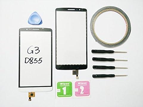 JRLinco Touchscreen Display pour LG Optimus G3D855 vitre tactile de remplacement en verre pour LG Optimus G3D855 Blanc + Outils et adhésif double face + Lingette de nettoyage à l'alcool