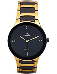 Latest Fashionable Round Black Dial Black And Golden Metal Strap Watch Casual / Formal Watch By Meclow