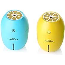 2X Sheng Teng Limón estilo USB portátil y se puede inclinar 180 ml humidificador de vapor frío con luz de noche LED se apagará automáticamente,Hogar, viaje, oficina, dormitorio del bebé, hotel, coche, SPA, Yoga (azul+amarillo)