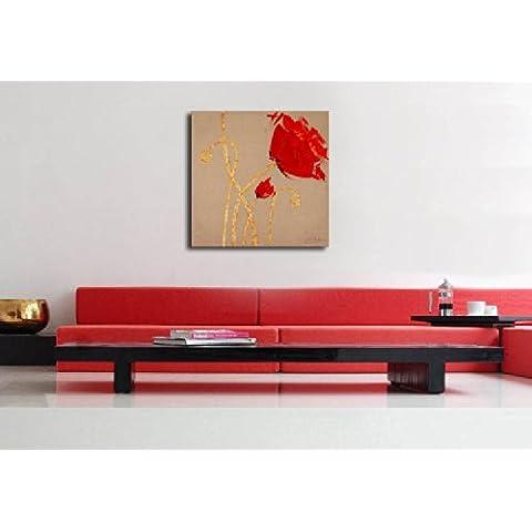Quadro astratto su lino - rosso papavero - di Martin Klein (Martin Lino)