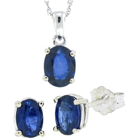 2.76Ct TW Genuine Sapphire orecchino Set Oro bianco w / gruppo 14kt (A)
