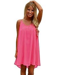 357da87bcfa836 Kleider Damen Dasongff Damen Sommerkleider aushöhlen Chiffon Strandkleid  Kurzes A-Linie Kleid Minikleid…