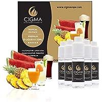 CIGMA 5 X 10ml E-Liquid Tropical Pack - Cola - Piña - Sandía - Smoothie de mango - Soda de limón - Ingredientes de alto grado - VG & PG Mix - Hecho para cigarrillo electrónico y E Shisha