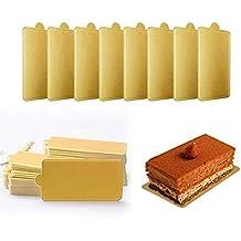 Mini cuadrado de cartón dorado para decoración de tartas, 100 platos de papel para tartas