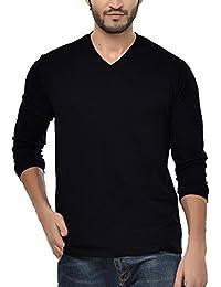 Neevov Men's V- Neck Cotton Black T-Shirt Full Sleeve
