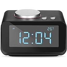 YISSVIC Despertador Digital FM AUX Radio Despertador LCD de Dos Relojes Altavoz Interior con Termómetro Cargador de Doble USB con Función Snooze y 6 Niveles de Luminosidad [Negro]