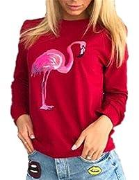 Tayaho Sudaderas Manga Larga Mujer Pull Cuello Redondo Corto Camiseta Impresión Flamenco Sudadera Deportivo Universidad Blusas