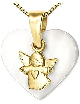 CLEVER SCHMUCK-SET Goldener Anhänger kleiner Kinderengel matt auf Herz aus Perlmutt 12 x 14 mm glänzend 333 GOLD...