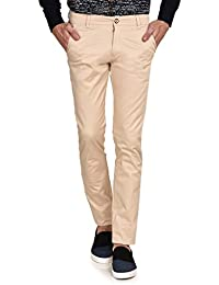 Ruace Men's Light Beige Slim Fit Cotton Trouser