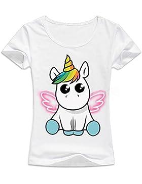 Desshok Donna Estate Unicorno Stampato T Shirt Girocollo Manica Corta  Camicetta Tops Casual 43576545e9fe