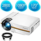 ELEPHAS Projector, Upgraded 2800 Lux LED Video Projector, Updated LCD Technology Support 1080P Portable Mini Multimedia Projector Ideal for Home Theatre Entertainment Games Parties, White