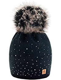 ce42b1beec5 Women Ladies Winter Beanie Hat Wool Knitted with Small Crystals Large Fur Pom  Pom Cap SKI