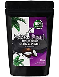 Black Pearl Coconut Activated Charcoal Powder for Teeth Whitening, Detox, Acne Scar Removal and Natural Skin Lightening | Includes Measuring Scoop