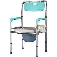 ZJBDQ Silla de servicio móvil ancianas WC WC WC aluminio silla tocador móvil plegable de la silla 4 patas de la aleación