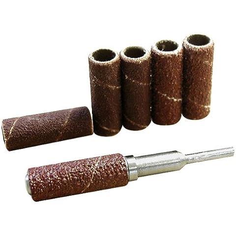 Maxicraft 71145 - Conjunto de 6 tambores abrasivos con ø varilla de soporte 9 mm grano 60/120