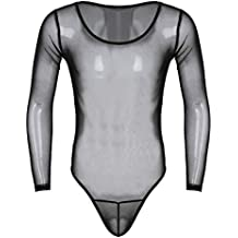 Freebily Homme String Body Transparent à Manches Longue Erotique Combinaison  Bodysuit Thong Maillot de Corps Lingerie b4e4dd38aa5