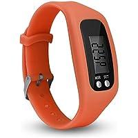 Hmocnv LCD intelligente orologio contapassi fitness tracker Watch semplicemente operazione pedometro corsa con conteggio calorie bruciate e passi, Orange
