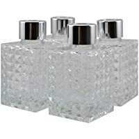 Ougual - Juego de 4 Botellas de difusor cuadradas de Cristal con Relieve de Diamante (