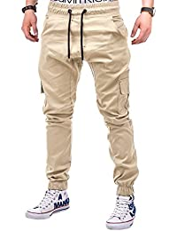 BetterStylz MasonBZ Herren Cargo Chino Jogginghose Jogger Hose Pant Slim Fit Cargotaschen Army Style 8 Farben (XS-5XL)