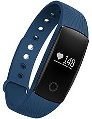 SAVFY Fitness Tracker mit Pulsmesser Bluetooth 4.0 Herzfrequenz Fitnessarmband Aktivitätstracker für Android und IOS, Blau