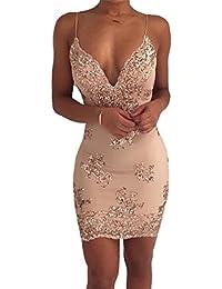 Freestyle Estivo Vestiti Donna Sexy Sottile V Collo Giarrettiere Senza  Schienale Mini Vestito Fashion Paillettes Abito 18d65d1a559