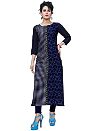 Ziyaa Women's Multicoloured Boat Neck With 3/4 Sleeve Crepe Digital Print Straight Kurta (ZIKUCRDP-311)