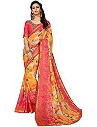 Sutram Orange Georgette Printed Saree with Blouse