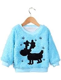 Internet Bébé filles enfants La petite biche Manches longues pulls Col rond Pullover chaud occasionnels Sweatshirt