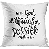 Funda de almohada de color dorado con texto en inglés Religious All Things Are Possible Quote