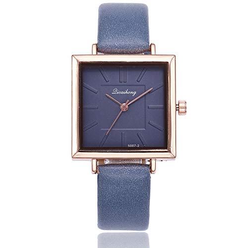 Armbanduhr Damen Ronamick Damen mode Lederband Analoge Quarz-Quadrat-Armbanduhr Uhren Armband Armbanduhr Uhr Uhren(BU) - Bu Mode