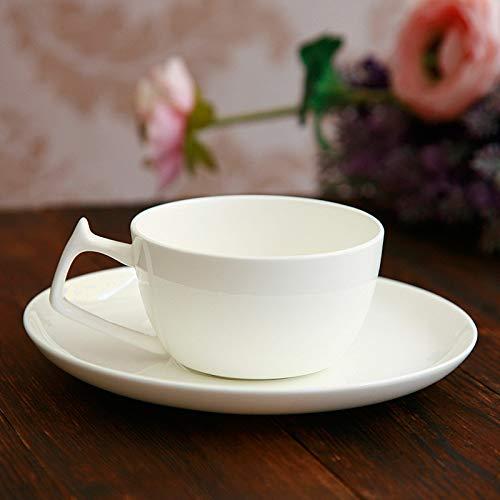 Winpavo Mugs Tasses Bone China Coffee Tasse Soucoupe Européenne Créative en Céramique Simple Tasse À Café Blanche Définie, Un