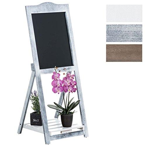 CLP Memotafel Jenny mit Holzgestell und Einer Ablagefläche I Standregal mit Kreidetafel I Holzregal mit integrierter Tafelfläche I erhältlich Antik Grau