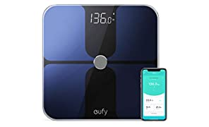 Eufy Bilancia Smart Bluetooth, Grande Display LED, Analisi delle Composizione del Corpo con Peso/Grasso Corporeo/BMI/Fitness Body, Auto On/off, Superficie in Vetro Temperato.