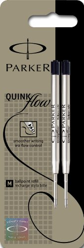 Parker Quinkflow Medium Black Ball Pen Refill - Pack of 2