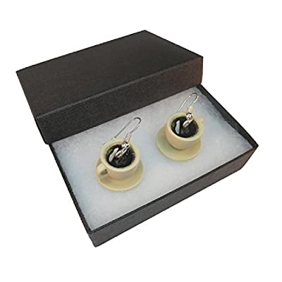 Handmade Fun Novelty Miniature Espresso Coffee - Cup & Saucer Inspired Earrings - Gift Boxed by Purple Petals Jewellery Box
