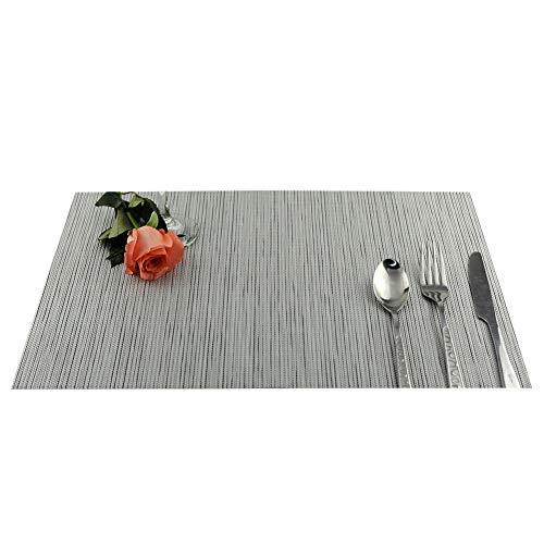 Huhuswwbin Premium Tischsets, waschbar, PVC Platzdeckchen, Isolierung, Tischunterlage, rutschfest grau (Halloween Tischsets Vinyl)