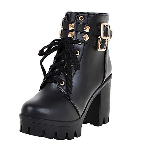 UH Damen Schnür Plateau Stiefeletten Blockabsatz Chunky Heels Boots mit Nieten und Schnalle Bequeme Schuhe