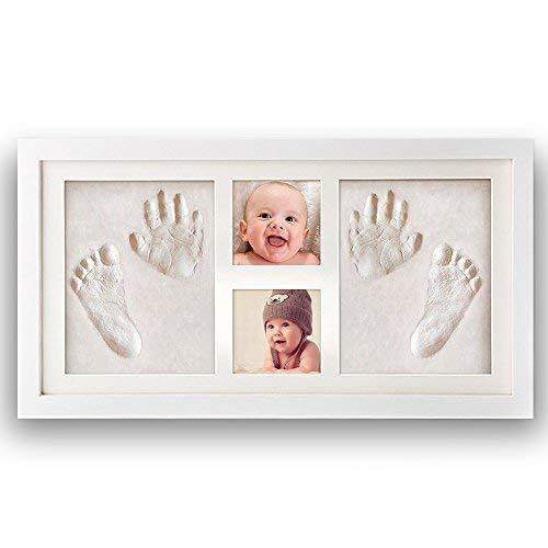 Impronta bambino, Pootack cornice impronta neonato con portafoto in legno per tutti e due mani e piedi del bambino - Due impronte e due cornice foto - Una battesimo regalo perfetto bimbo