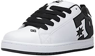 DC Men's Court Graffik SE Skate Shoe,White/Charcoal,10 D US
