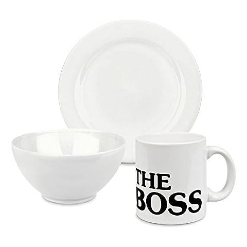 Set petit déjeuner The Boss en Porcelaine Couleur: Blanc