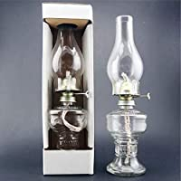Xiaoyatou Lámpara de Queroseno de Vidrio Lámpara de Aceite de Escritorio Transparente Lámpara de Queroseno nostálgica Vintage, para luz de Emergencia por Falla de energía en el hogar (32CM)