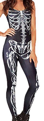 erdbeerloft - Damen Kostüm Glanz Bodysuit Anzug, Skelett Horror, schwarz, 36-40 (Damen Skelett Kostüm Bodysuit)
