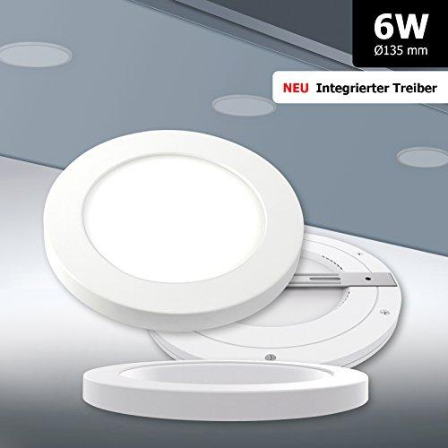 NEU! Ultraflaches LED Panel rund dimmbar Mini-Panel 6W tageslichtweiß 6000K Deckenleuchte Ø135mm mit integriertem Netzteil! extra flach einfache Montage TÜV Serie 2.0