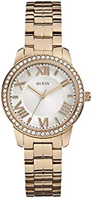 Guess Dress Watch for Women, Stainless Steel Case, White Dial, Analog -W0444L3