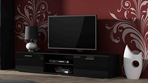 High Gloss TV Cabinet Stand Entertainment Unit with Doors | SOHO Modern Living Room Furniture (Black)